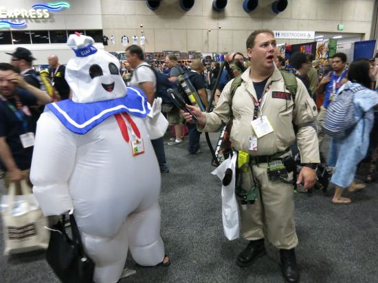 Peter Venkman and the Stay-Puft Marshmallow Man