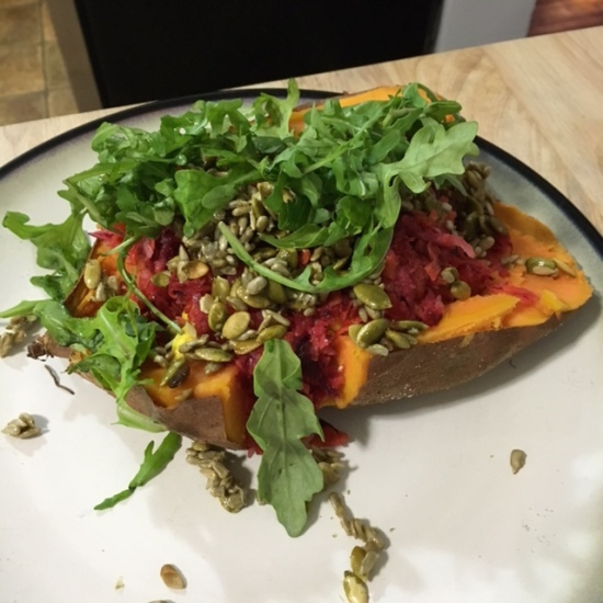 Jamie's Baked Sweet Potatoes with Grated Salad & Sticky Seeds - HelloFresh