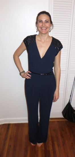 Halston Heritage Navy Ri Jumpsuit - Rent the Runway