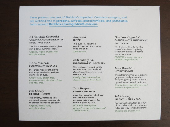 Birchbox Limited Edition New Naturals Description Card