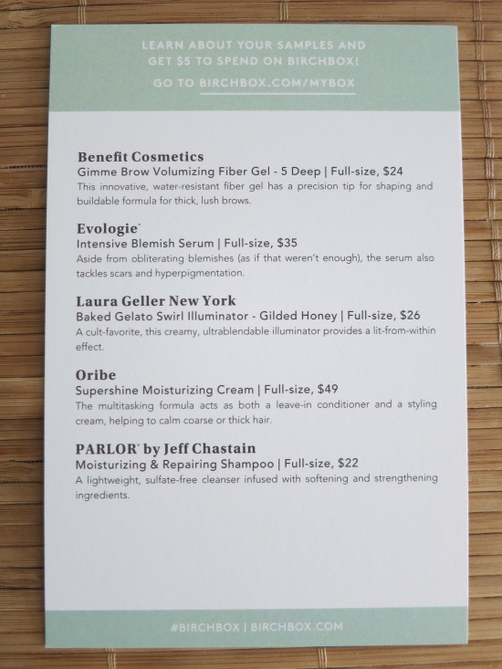 June 2016 Birchbox sample card